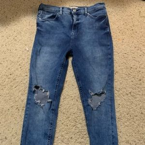 Free people destroyed high waisted skinny jeans